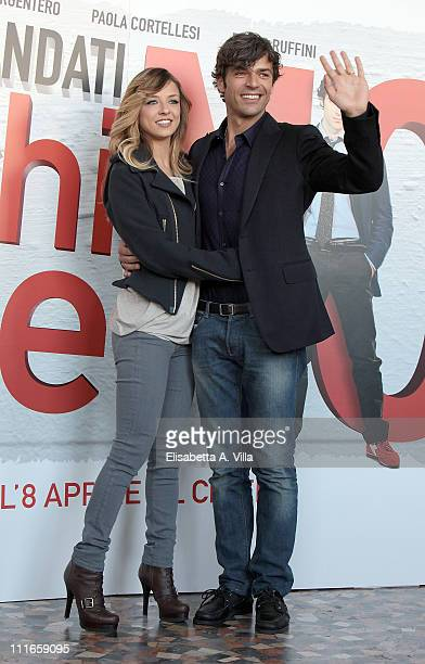 Actor Luca Argentero and his wife actress Myriam Catania attend the 'C'E' Chi Dice No' photocall at The Space Moderno on April 5 2011 in Rome Italy