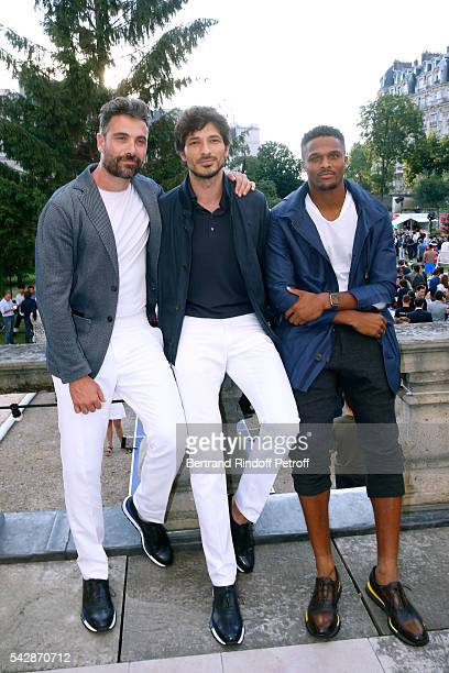 Actor Luca Calvani model Andres Velencoso Segura and american football player Brice Butler attend the Berluti Menswear Spring/Summer 2017 show as...