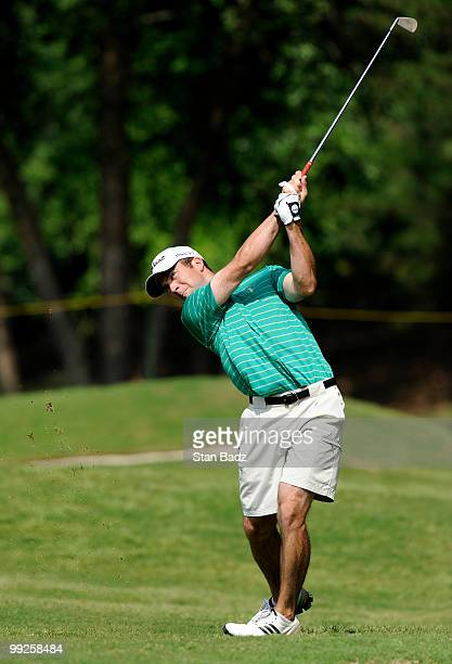 Actor Lucas Black hits from the first fairway during the first round of the BMW Charity ProAm at the Thornblade Club held on May 13 2010 in Greer...