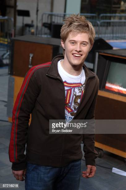 Actor Lucas Grabeel poses for photos after performing live onstage during NBC's Today Show Presents Disney's High School Musical In Concert on March...