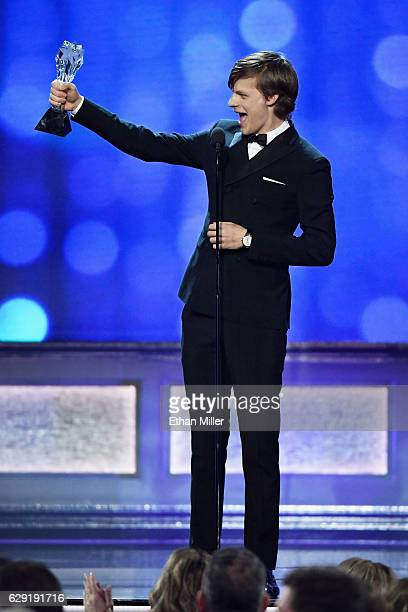 Actor Lucas Hedges accepts the award for Best Young Actor/Actress for 'Manchester by the Sea' onstage during the 22nd Annual Critics' Choice Awards...