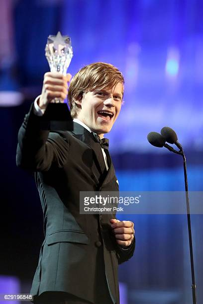 Actor Lucas Hedges accepts the Best Younger Actor award for 'Manchester by the Sea' onstage during The 22nd Annual Critics' Choice Awards at Barker...