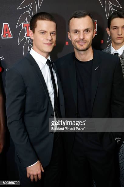 Actor Lucas Hedges and Stylist Kris Van Assche pose Backstage after the Dior Homme Menswear Spring/Summer 2018 show as part of Paris Fashion Week on...
