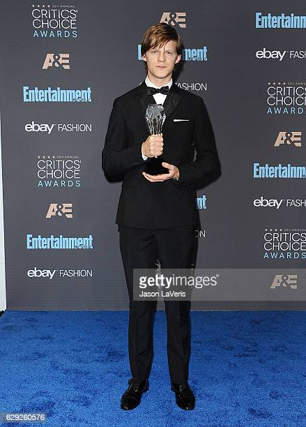Actor Lucas Hedges poses in the press room at the 22nd annual Critics' Choice Awards at Barker Hangar on December 11 2016 in Santa Monica California