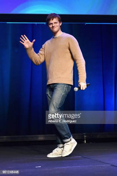 Actor Lucas Hedges speaks onstage during the CinemaCon 2018 Focus Features Presentation at Caesars Palace during CinemaCon the official convention of...