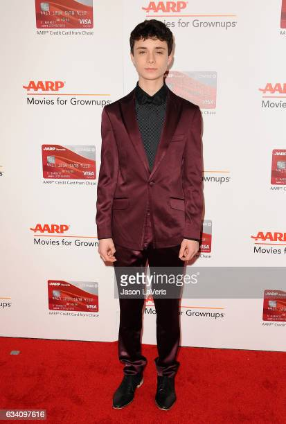 Actor Lucas Jade Zumann attends AARP's 16th annual Movies For Grownups Awards at the Beverly Wilshire Four Seasons Hotel on February 6, 2017 in...