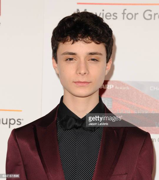 Actor Lucas Jade Zumann attends AARP's 16th annual Movies For Grownups Awards at the Beverly Wilshire Four Seasons Hotel on February 6 2017 in...