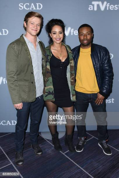 Actor Lucas Till Actress Tristin Mays and Actor Justin Hires attend a press junket for 'The MacGyver' on Day Three of the aTVfest 2017 presented by...