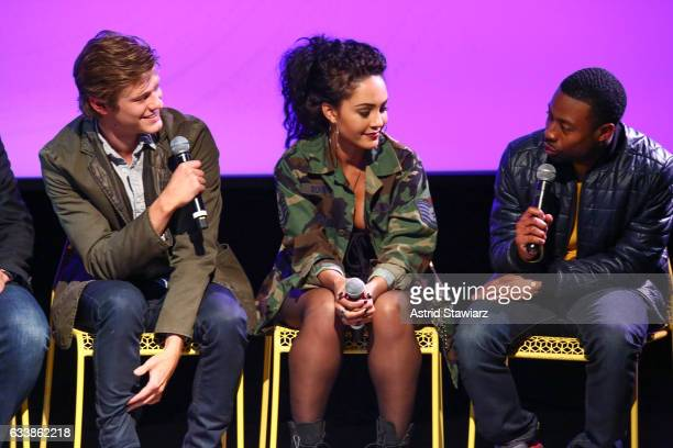 Actor Lucas Till Actress Tristin Mays and Actor Justin Hires speak at a QA for 'MacGyver' on Day Three of the aTVfest 2017 presented by SCAD at...