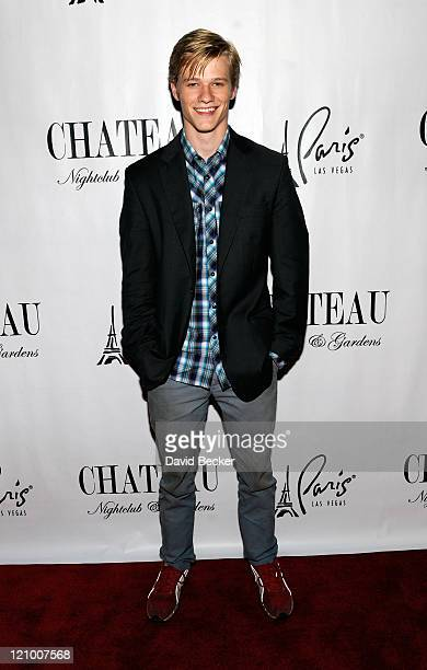 Actor Lucas Till arrives to celebrate his birthday at the Chateau Nightclub & Gardens at the Paris Las Vegas on August 12, 2011 in Las Vegas, Nevada.
