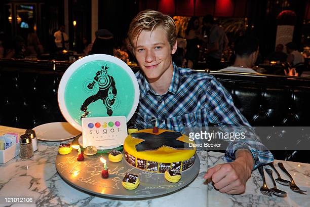 Actor Lucas Till celebrates his birthday at the Sugar Factory American Brasserie at the Paris Las Vegas on August 12 2011 in Las Vegas Nevada
