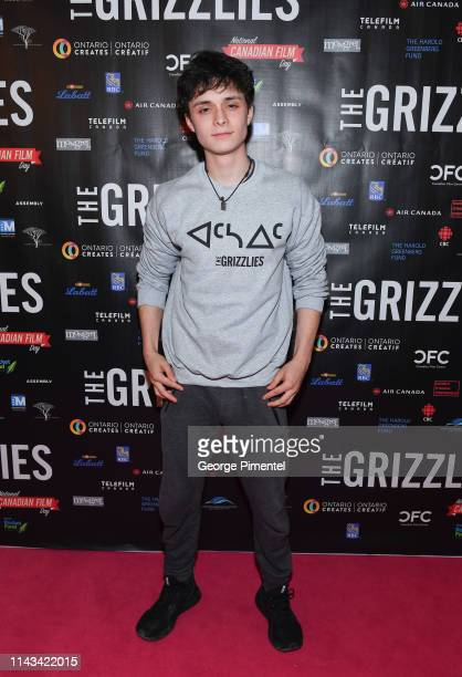 Actor Lucas Zumann attends The Grizzlies premiere held at Yonge and Dundas Cineplex Cinemas on April 17 2019 in Toronto Canada