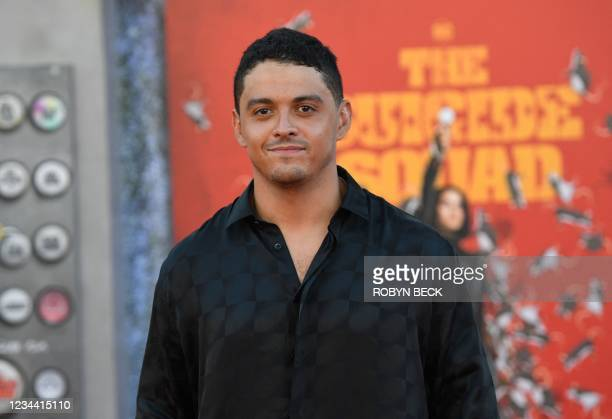 """Actor Lucca De Oliveira arrives for the premiere of """"The Suicide Squad"""" at the Regency Village theatre in Westwood, California on August 2, 2021."""