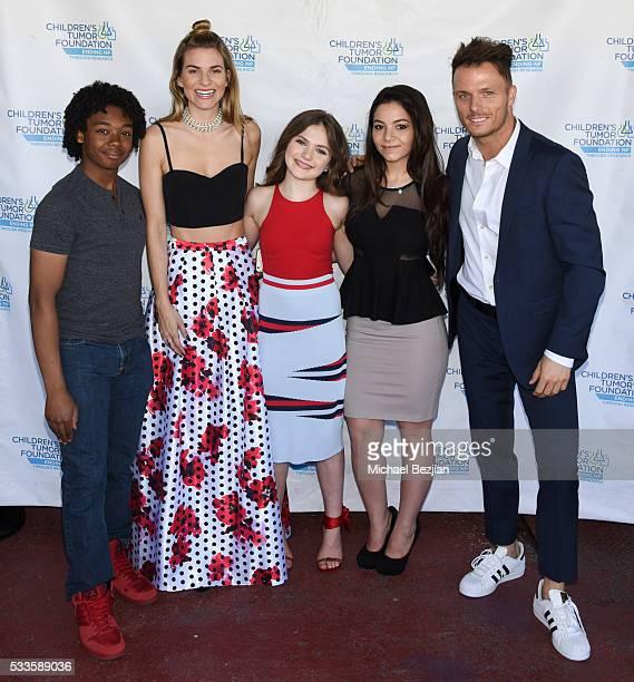 Actor Lucky Davis fashion blogger Rachel McCord actress Chiara Aurelia actress Katherine Akmakji and actor Tyler Dash White at Kids Fashions For NF...