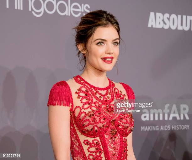 Actor Lucy Hale attends the 2018 amfAR Gala New York at Cipriani Wall Street on February 7 2018 in New York City
