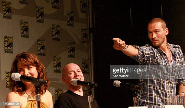 Actor Lucy Lawless and Executive producer Steven S DeKnight and Actor Andy Whitfield at Starz Entertainment's Spartacus Panel during ComicCon 2010 at...
