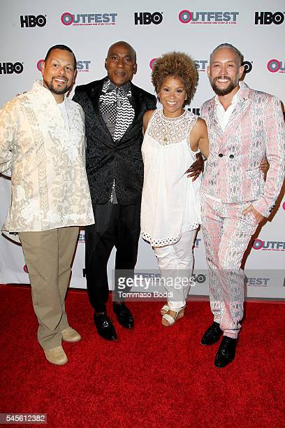 Actor Luis Camacho dancer Carlton Wilborn singer Niki Haris and dancer Kevin Stea attend the Outfest 2016 Screening of Strike A Pose held at Harmony...