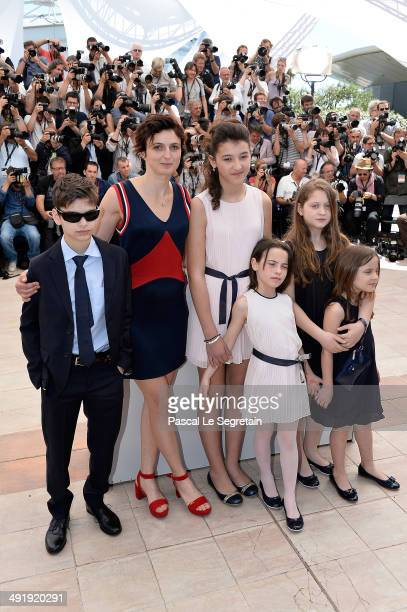 Actor Luis Huilca director Alice Rohrwacher actors Maria Alexandra Lungu Eva Morrow Agnese Graziani and MariaStella Morrow attend the 'La Meraviglie'...