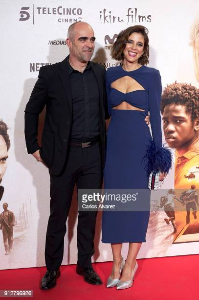 Actor Luis Tosar and Maria Luisa Mayol attend 'El Cuaderno De Sara' premiere at the Capitol cinema on January 31 2018 in Madrid Spain