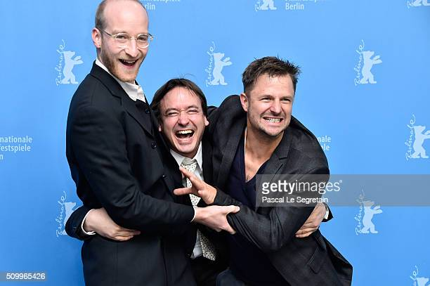Actor Lukas Turtur, director Haendl Klaus and actor Philipp Hochmair attend the 'Tomcat' photo call during the 66th Berlinale International Film...