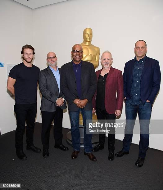 Actor Luke Bracey Moderator Joe Neumaier Screenwriter Robert Schenkkan and Vince Vaughn attend The Academy of Motion Picture Arts and Sciences...