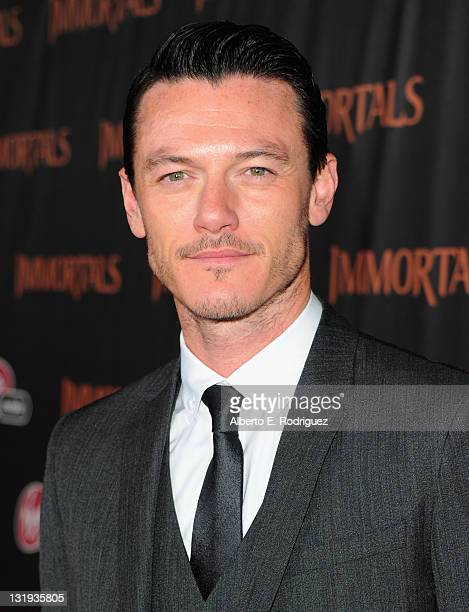 Actor Luke Evans arrives at Relativity Media's Immortals premiere presented in RealD 3 at Nokia Theatre LA Live at Nokia Theatre LA Live on November...