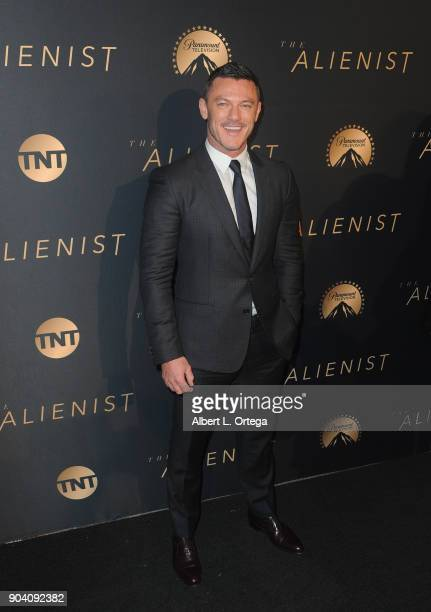 Actor Luke Evans arrives for the Premiere Of TNT's The Alienist held at Paramount Pictures on January 11 2018 in Los Angeles California