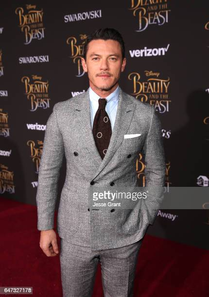 Actor Luke Evans arrives for the world premiere of Disney's liveaction 'Beauty and the Beast' at the El Capitan Theatre in Hollywood as the cast and...