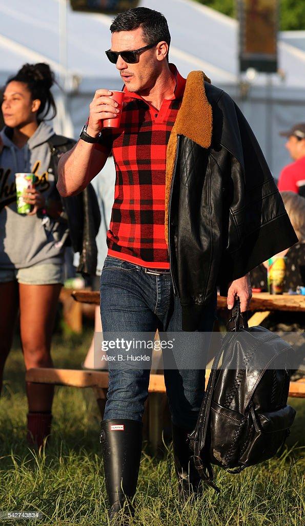 Actor Luke Evans attends the Glastonbury Festival at Worthy Farm, Pilton on June 24, 2016 in Glastonbury, England.