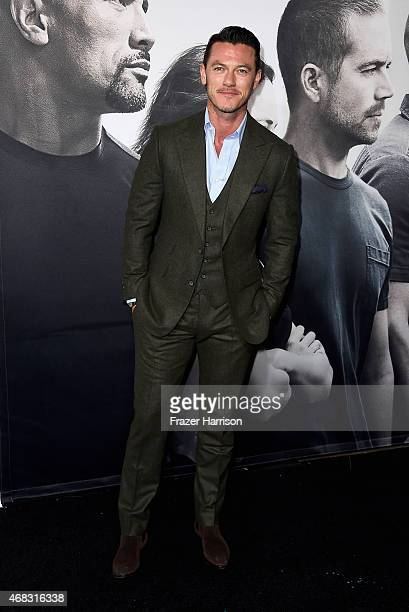 Actor Luke Evans attends Universal Pictures' Furious 7 premiere at TCL Chinese Theatre on April 1 2015 in Hollywood California