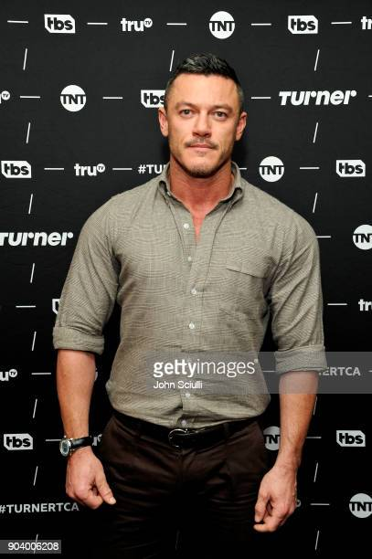 Actor Luke Evans of 'The Alienist' poses in the green room during the TCA Turner Winter Press Tour 2018 Presentation at The Langham Huntington...