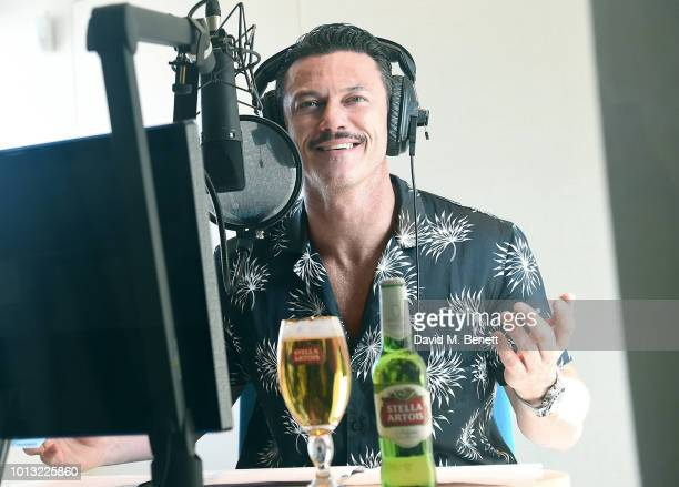 Actor Luke Evans savors a Stella Artois while recording STELLASPACE, a sensory guide to mastering the art of beer sipping on August 8, 2018 in...