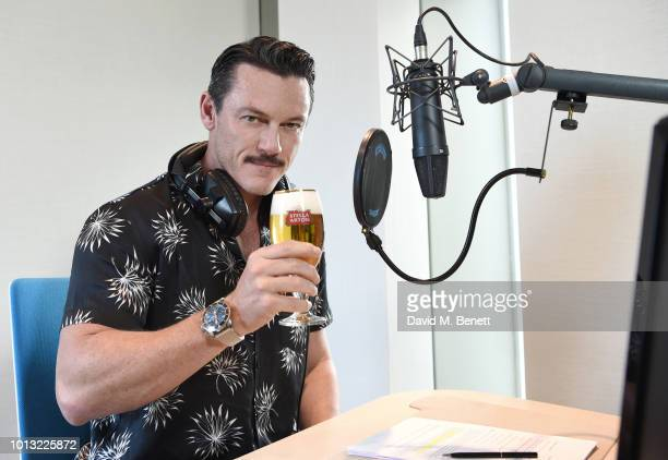 Actor Luke Evans savors a Stella Artois while recording STELLASPACE a sensory guide to mastering the art of beer sipping on August 8 2018 in London...