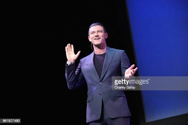 Actor Luke Evans speaks onstage at The Alienist Los Angeles For Your Consideration Event at Wallis Annenberg Center for the Performing Arts on May 23...