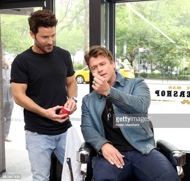 Actor Luke Hemsworth and celebrity groomer Benjamin Thigpen team up to teach guys how to get a HAIR of confidence at Made Man Barber Shop on May 11...