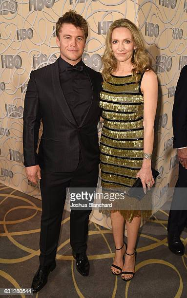 Actor Luke Hemsworth and Samantha Hemsworth attend HBO's Official Golden Globe Awards After Party at Circa 55 Restaurant on January 8, 2017 in...