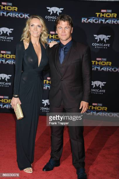 """Actor Luke Hemsworth and Samantha Hemsworth attend the premiere of Disney and Marvel's """"Thor: Ragnarok"""" on October 10, 2017 at the El Capitan Theater..."""
