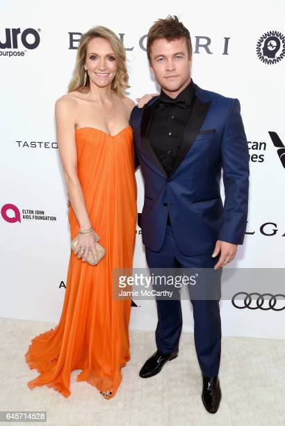 Actor Luke Hemsworth and Samantha Hemsworth attends the 25th Annual Elton John AIDS Foundation's Academy Awards Viewing Party at The City of West...