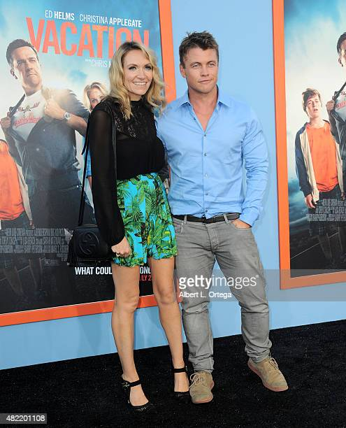 """Actor Luke Hemsworth and wife Samantha arrive for the Premiere Of Warner Bros. Pictures' """"Vacation"""" held at Regency Village Theatre on July 27, 2015..."""