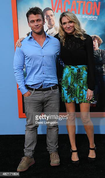 """Actor Luke Hemsworth and wife Samantha Hemsworth attend the premiere of Warner Bros. """"Vacation"""" at the Regency Village Theatre on July 27, 2015 in..."""