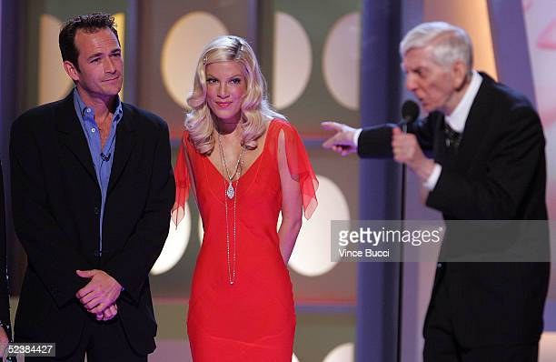 Actor Luke Perry Actress Tori Spelling and Producer Aaron Spelling onstage at the 2005 TV Land Awards at Barker Hangar on March 13 2005 in Santa...