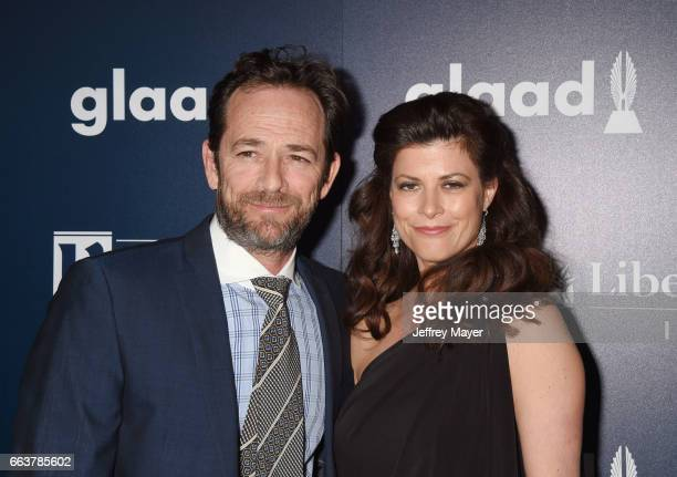 Actor Luke Perry and guest attend the 28th Annual GLAAD Media Awards in LA at The Beverly Hilton Hotel on April 1 2017 in Beverly Hills California
