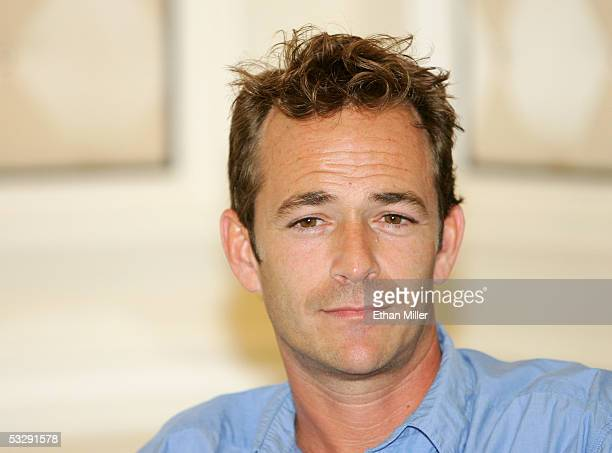 Actor Luke Perry listens during a news conferene at the Video Software Dealers Association's annual home video convention at the Bellagio July 26...