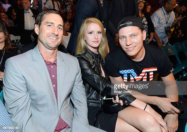 Actor Luke Wilson and DJ Tiesto attend the 'High Stakes Mayweather v Berto' fight presented by Showtime at MGM Grand Garden Arena on September 12...