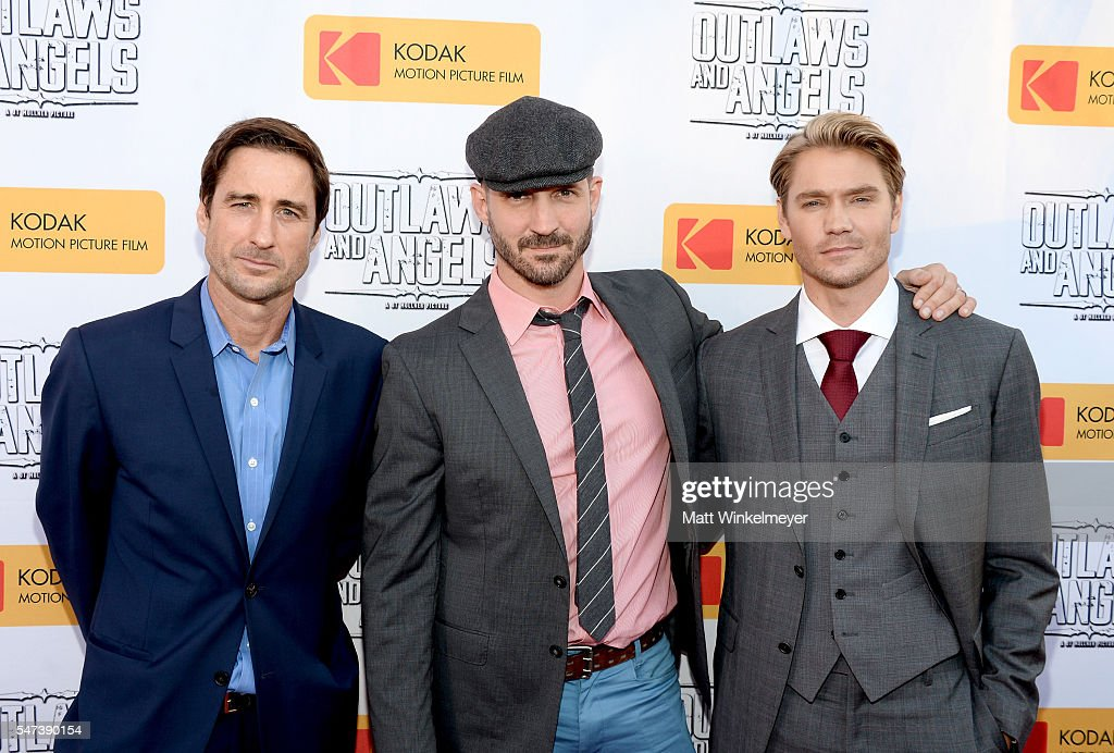 Actor Luke Wilson, filmmaker JT Mollner and actor Chad Michael Murray attend the premiere of Momentum Pictures' 'Outlaws And Angels' at Ahrya Fine Arts Movie Theater on July 12, 2016 in Beverly Hills, California.