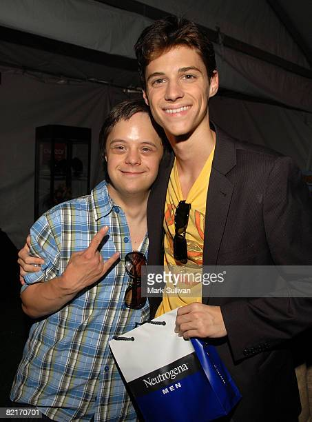 Actor Luke Zimmerman and actor Kenny Bauman attend the Mattel Celebrity Retreat produced by Backstage Creations at Teen Choice 2008 on August 3 2008...