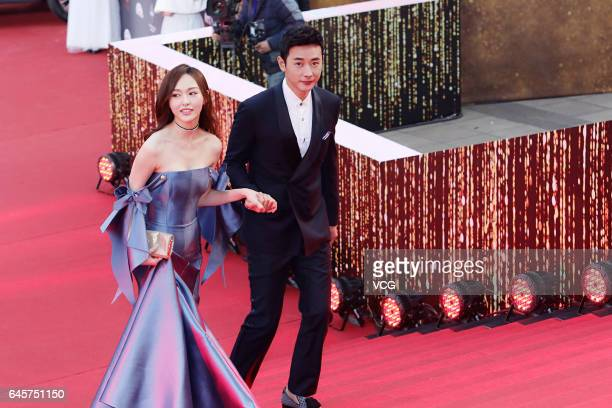 Actor Luo Jin and actress Tiffany Tang Yan attend the 2017 Chinese Television Series Quality Ceremony held by Dragon TV on February 26 2017 in...