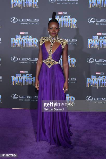Actor Lupita Nyong'o attends the premiere of Disney and Marvel's Black Panther at Dolby Theatre on January 29 2018 in Hollywood California