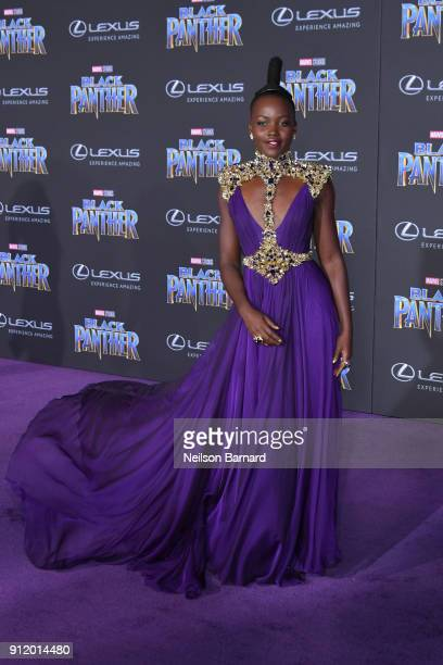 Actor Lupita Nyong'o attends the premiere of Disney and Marvel's 'Black Panther' at Dolby Theatre on January 29 2018 in Hollywood California