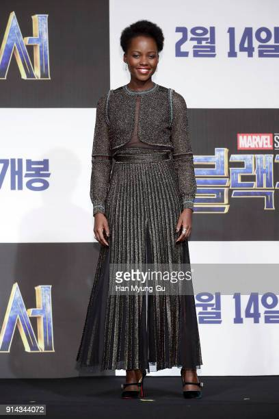 Actor Lupita Nyong'o attends the press conference for the Seoul premiere of 'Black Panther' on February 5 2018 in Seoul South Korea